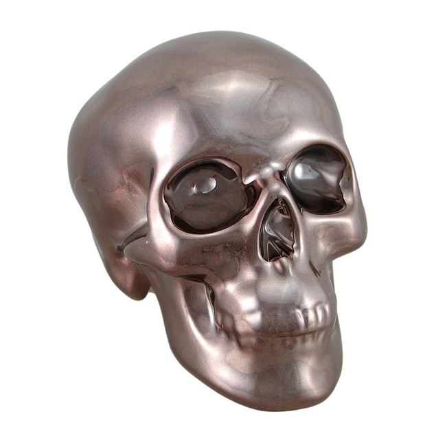 Polished Bronze Chrome Plated Ceramic Human Skull Toy Banks