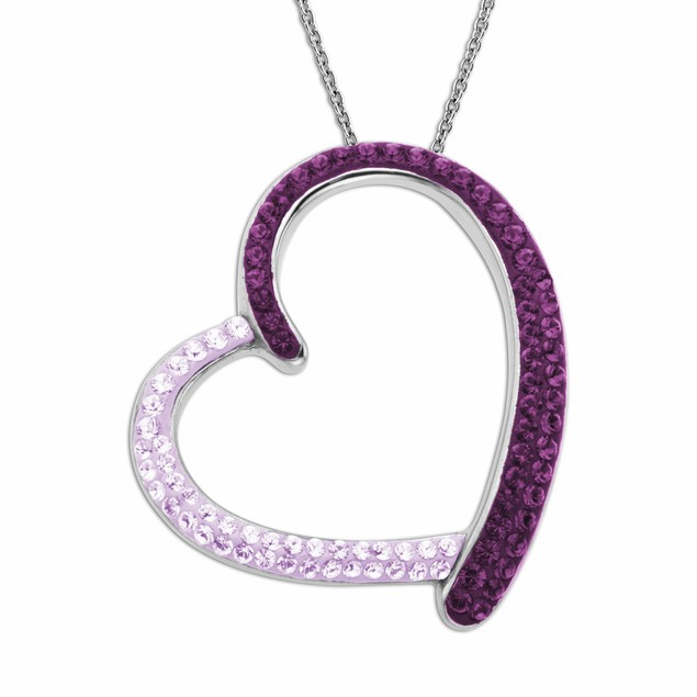 Crystal Pink And White Heart Necklace