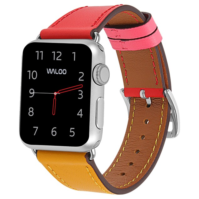 Waloo Genuine Leather and Stainless Steel Buckle Apple Watch Band
