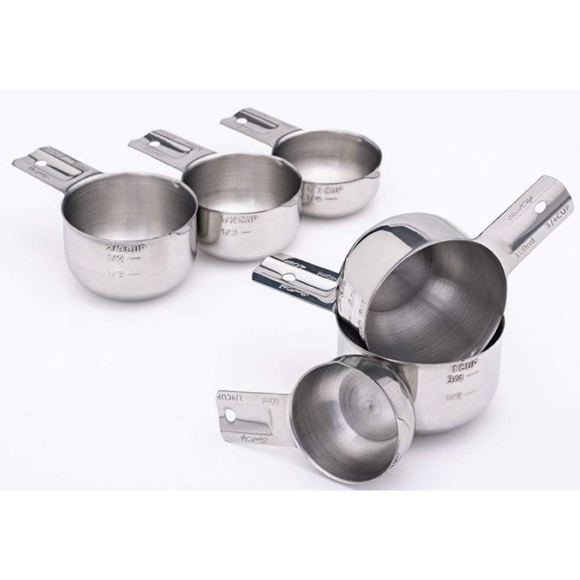 Superb Chefs 6-Piece Stackable Stainless Steel Measuring Cups Set