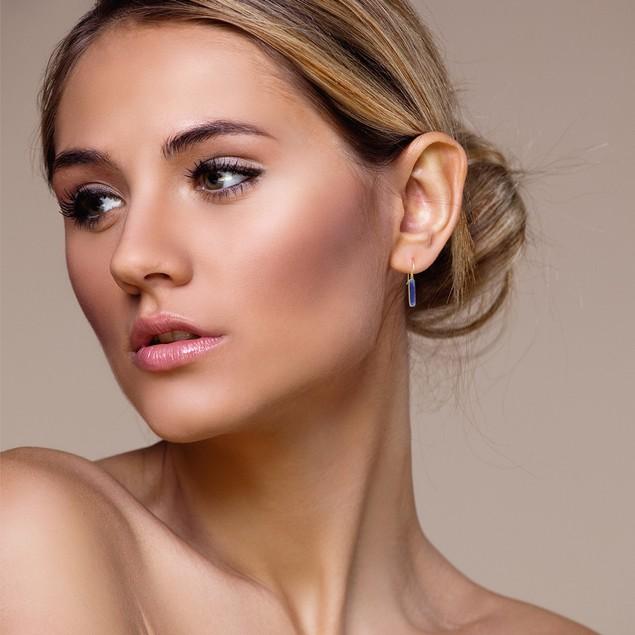"Gold Tone Sterling Silver 11cttw Sapphire Bar Earrings, 1"" Long"