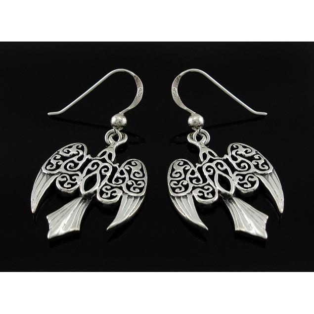 Sterling Silver Morrigan Raven Earrings Celtic Womens Dangle Earrings