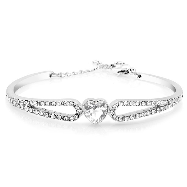 Crystal Heart Bangle Bracelet - 2 Colors