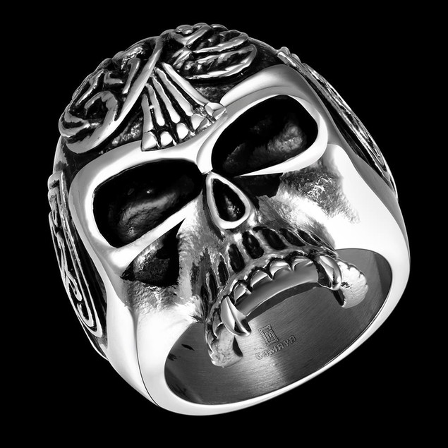 Thin Skull Stainless Steel Ring