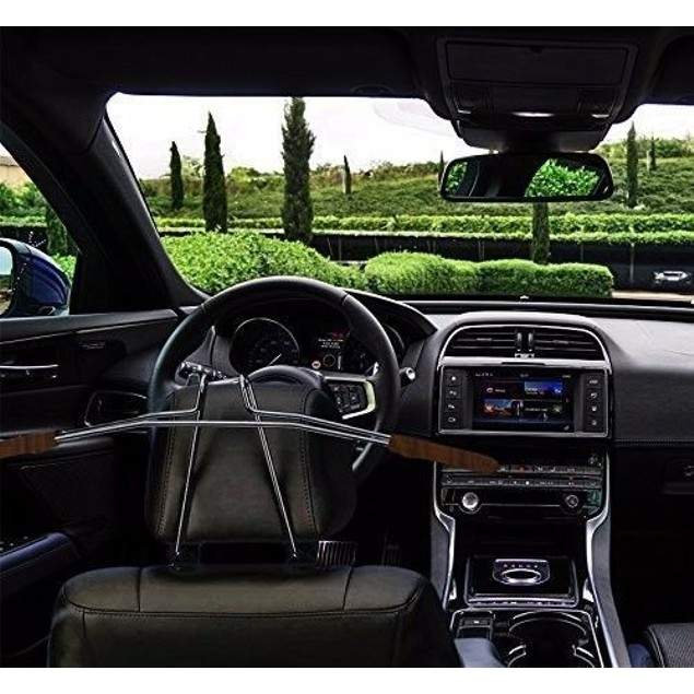 Zone Tech Car Headrest Coat Suit Hanger Chrome Steel Woodgrain Trim