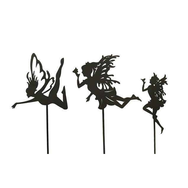 3 Pc. Rust Finish Fairy Silhouette Metal Garden Garden Stakes