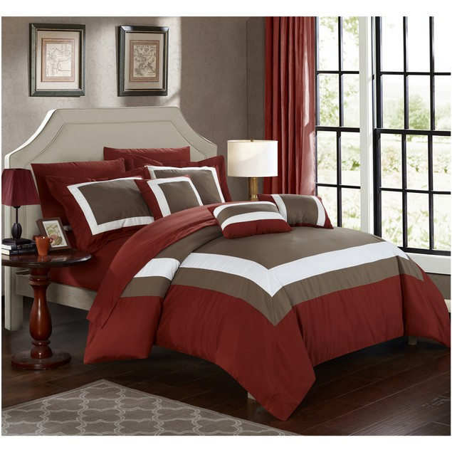 10-Piece Danny Colorblock Bed-in-a-Bag Comforter Sets