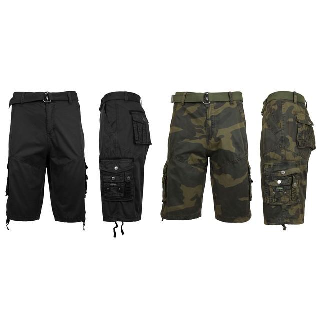 2-Pack Men's Distressed Vintage Belted Cargo Utility Shorts