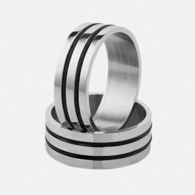 Stainless Steel Ring - Wide Grid