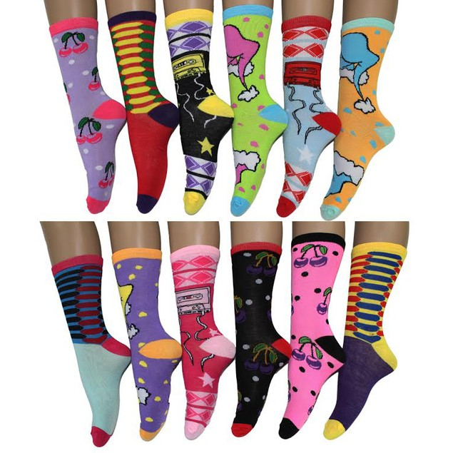 12 Pairs Frenchic Women's Cotton-Blend Fashion Crew Socks