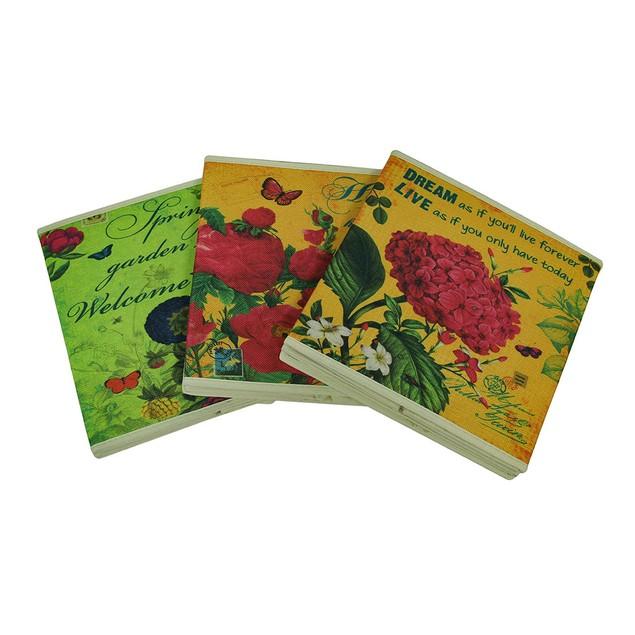 Bright Blooms Decorative 3 Piece Burlap Storage Decorative Boxes