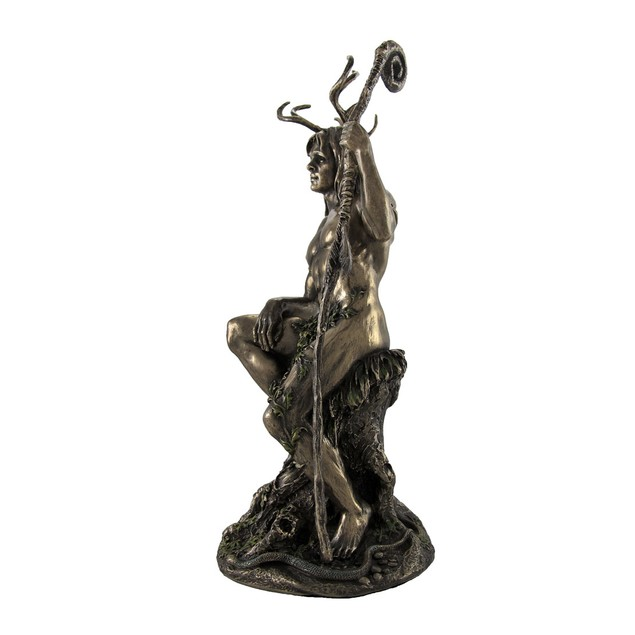 Bronzed Herne The Hunter With Walking Stick Statue Statues