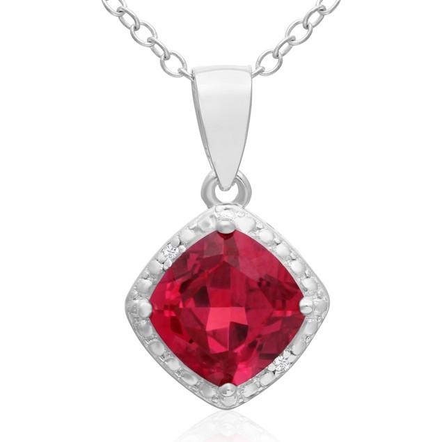 Cushion Cut 1 1/2ct Created Ruby and Diamond Pendant