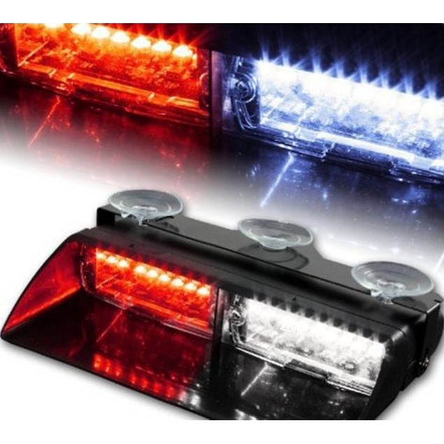 Zone Tech 16 LED Emergency Car Dash Warning Strobe Flash Light Red/White