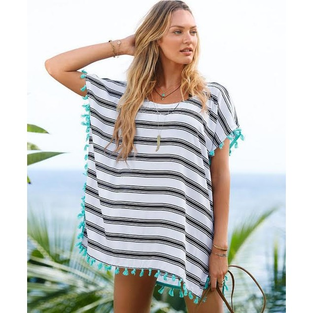 Striped Poncho Cover-up