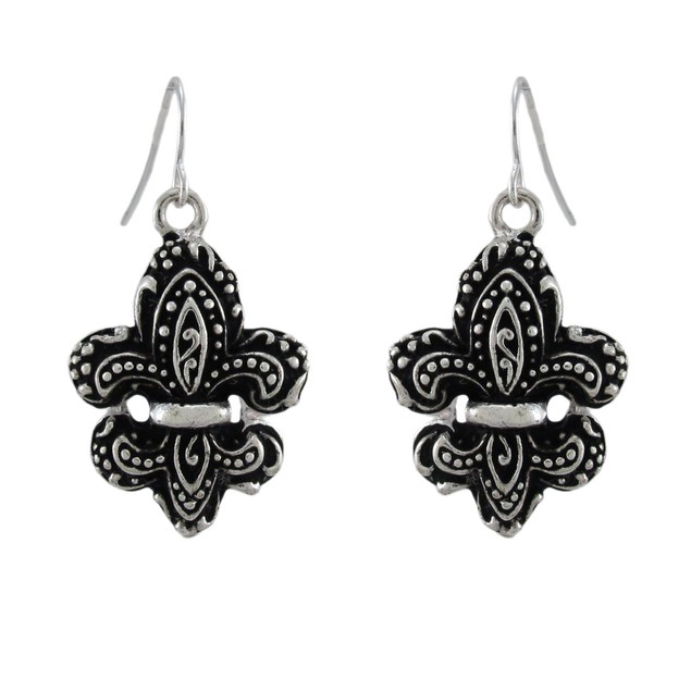 Fleur De Lis Necklace And Dangling Earrings Set Womens Earring And Necklace