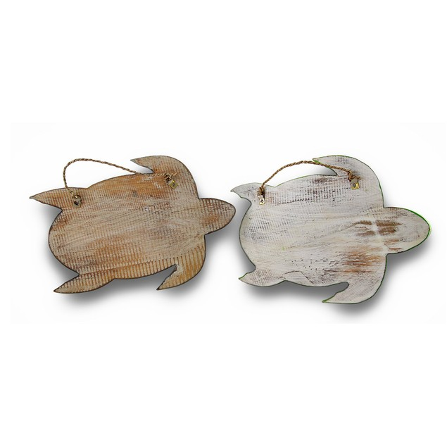 Charming Wood Sea Turtle Double Peg Wall Hook Set Decorative Wall Hooks