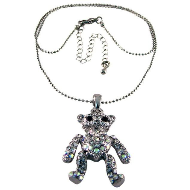 Rhinestone Encrusted Teddy Bear Pendant / Necklace Womens Pendant Necklaces