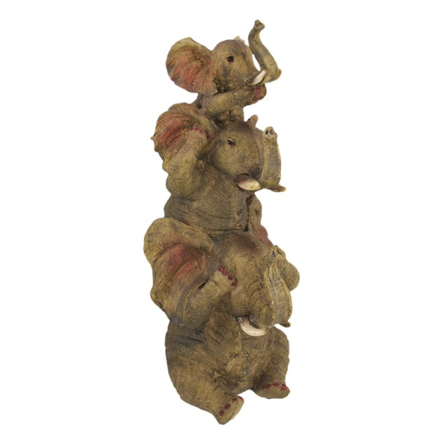 Comical Stacked No Evil Elephant Trio Statue Statues
