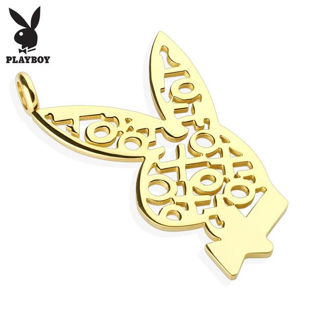 Playboy Logo XOXO Gold IP 316L Surgical Steel Bunny Pendant