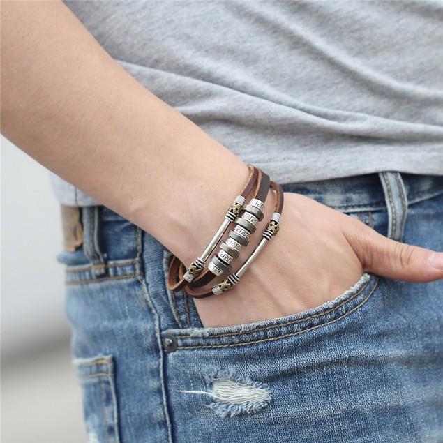Mens Stainless Steel Leather Bracelet