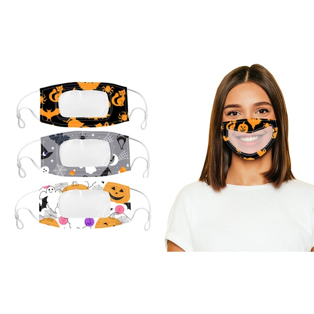 Adult Halloween Edition Smile Communicator Clear Mouth Face Mask (3-Pack)