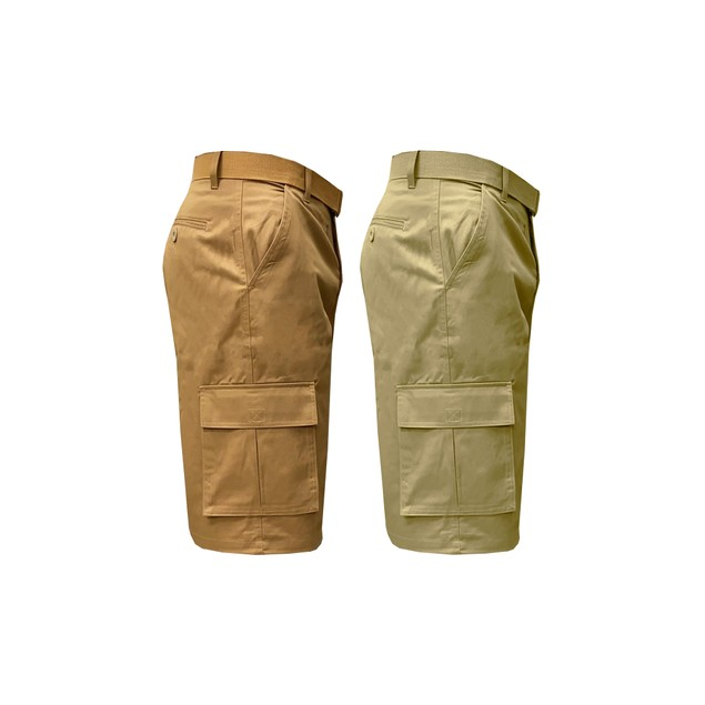2-Pack Men's Stretch Cotton Belted Cargo Shorts (Sizes 32-40)