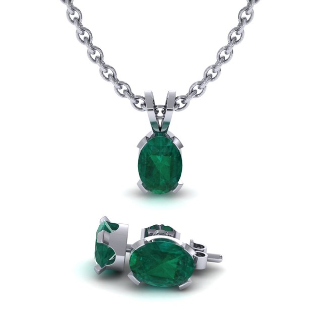 1.35cttw Oval-Cut Emerald Necklace & Earring Set In Sterling Silver