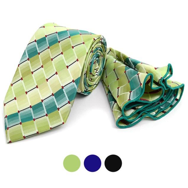 Laurant Bennet Plaid Tie & Matching Pocket Round Set