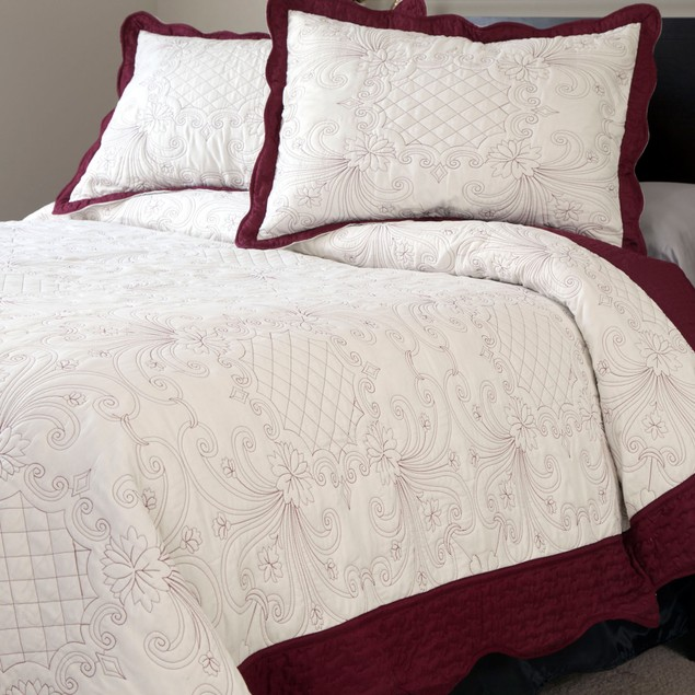 Lavish Home Juliette Embroidered Quilt 3 Pc. Set