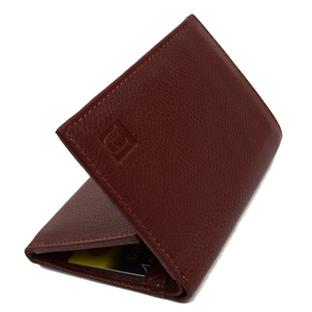 RFID Genuine Leather Tri-Fold Wallet