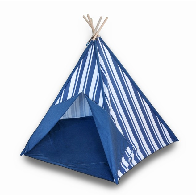 Children`S Canvas Teepee Tent Blue And White Childrens Play Tents