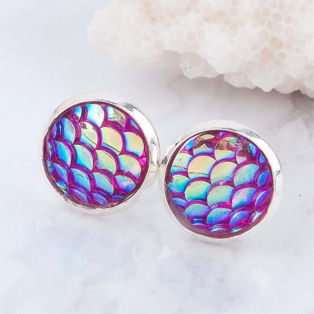 Mermaid Skin Stud Earrings - Choose Color