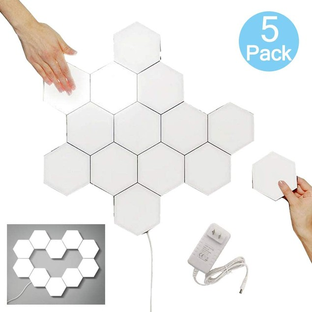 5-Pack Hexagonal Touch Sensitive LED Honeycomb Wall Night Lights