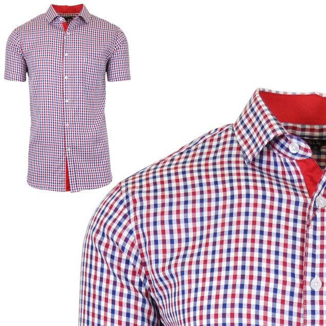 Men's Short Sleeve Slim-Fit Casual Gingham Dress Shirts
