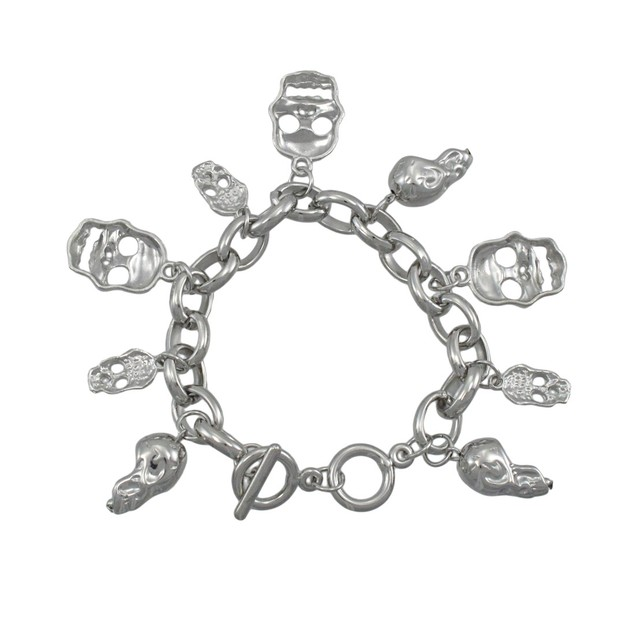 Polished Chrome 3D Dangling Skulls Charm Bracelet Charm Bracelets