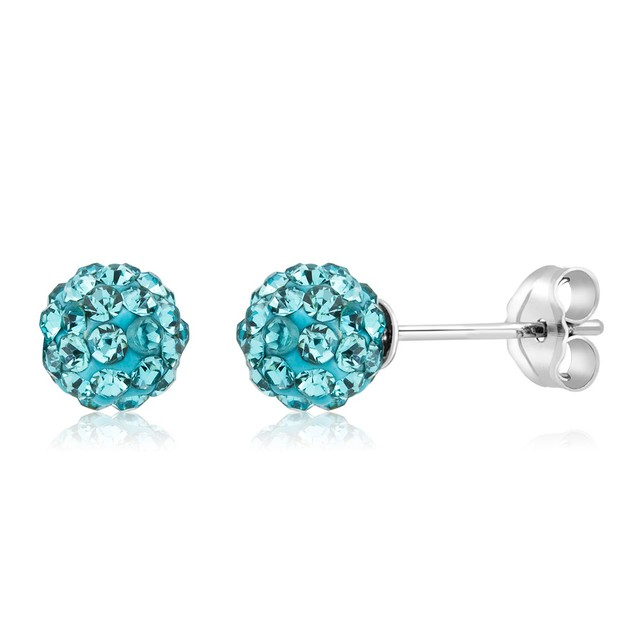 3-Pack Sterling Silver Crystal Ball Earrings