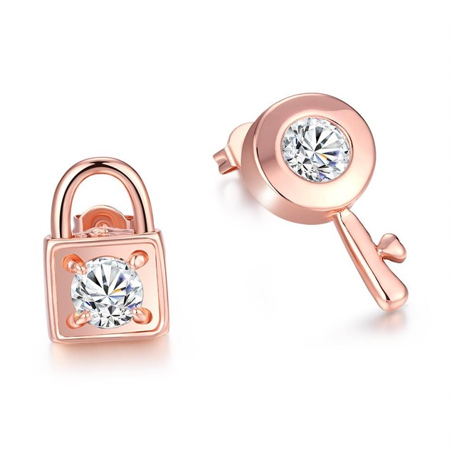 Gold Plated Key to your Lock Studded Earrings
