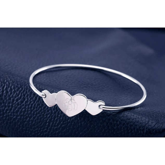 Personalized Triple Heart Monogram Bangle Bracelet