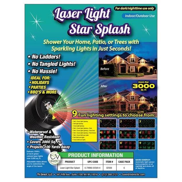 Laser Light Splash - 9 Light Settings!