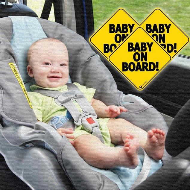 """Zone Tech 3x Reflective Baby on Board Car Decal Magnet Sign 5x5"""""""