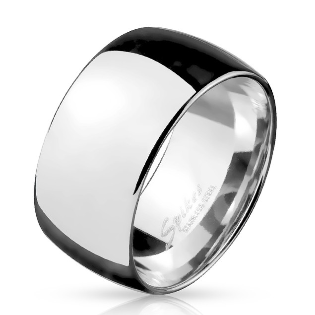 Wide Dome Stainless Steel Band Ring