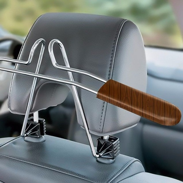 Zone Tech Car Headrest Coat Suit Hanger Chrome Steel Woodgrain Trim