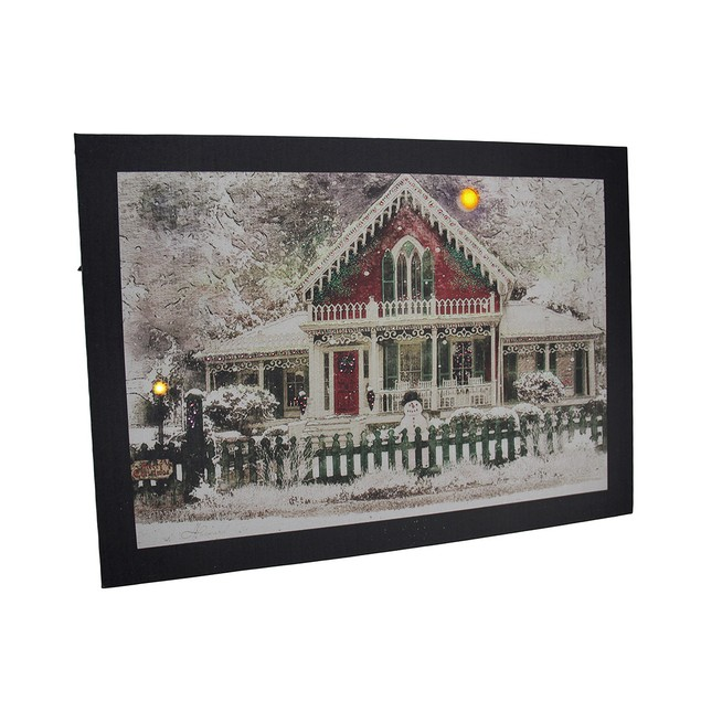 Led Lighted Snow Covered Festive Holiday House Prints