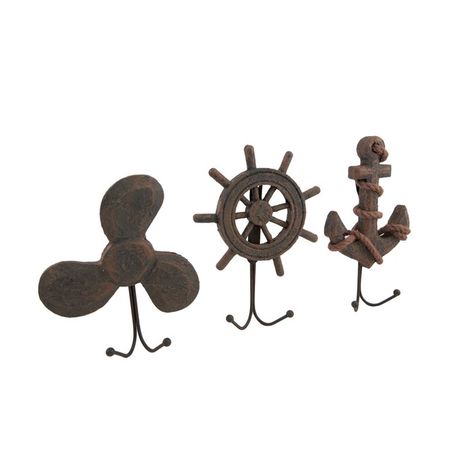 Set Of 3 Weathered Finish Anchor Prop And Wheel Decorative Wall Hooks