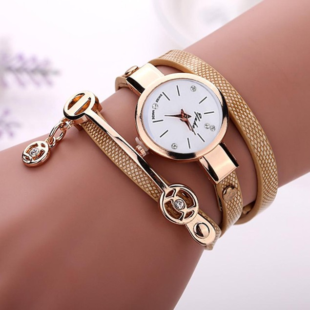Rose Gold Charm Wrap Watch - Choose Color