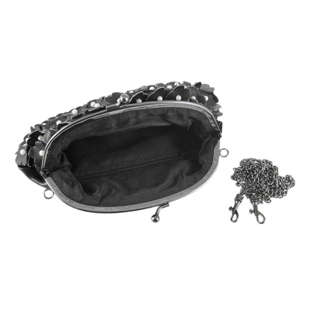 Black Vinyl Pearl Beaded Evening Bag Purse Womens Evening Handbags
