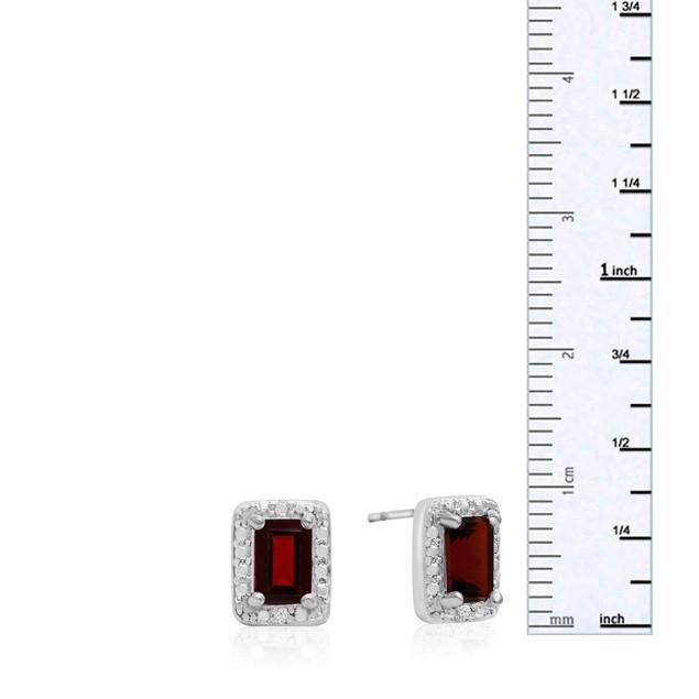 Emerald Shape Garnet and Halo Diamond Earrings