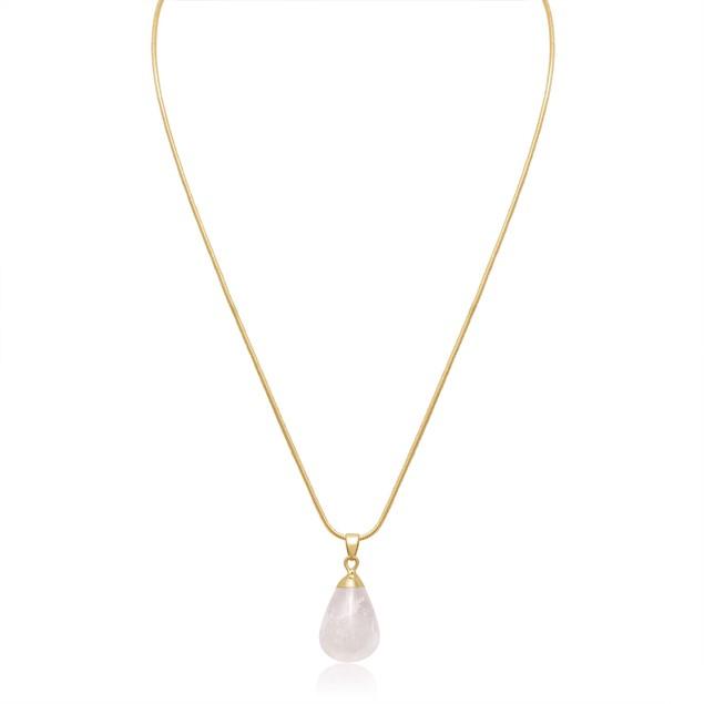 10ct Pear-Cut Clear Quartz Necklace, 18 Inches