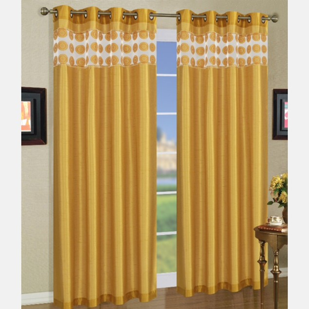 2-Pack: Natali Grommet Top Curtain Panels with Details